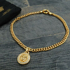 Round Necklace Pendant #1452be Rise-on Versace Gold Plated Rhinestones Medusa