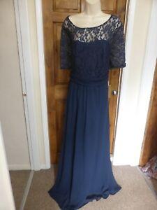 Pretty dark blue chiffon lace detail evening dress from Babyonline size 22
