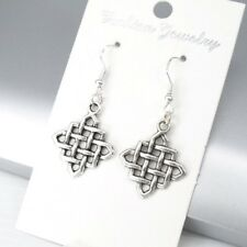 925 Sterling Silver Hooks Vintage Silver Alloy Square Celtic Knot Earrings