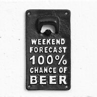 100% Chance of Beer Vintage Outdoor Cast Iron Wall Mounted Bottle Opener Gift