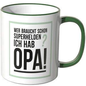 """WANDKINGS Tasse, Spruch """"Wer braucht schon Superhelden? Opa"""" versch. Farben"""
