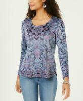 style & Co Womens Printed Rhinestone-Embellished Top . 100044537MS Blue M
