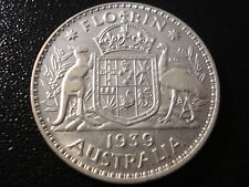 Australian 1939 Florin Sterling Silver Coin Better Grade Scarce Key Date