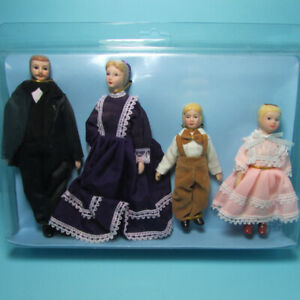 Dollhouse Miniature Porcelain Victorian Family Dolls Dad Mom Girl & Boy 06821