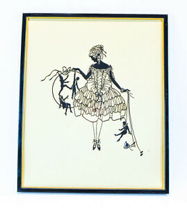 VINTAGE SCHERENSCHNITTE SILHOUETTE OF BEAUTIFUL GIRL WITH MARIONETTES