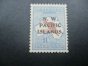 N.W Pacific Islands: 1916 Perf 12 Type C £1 Blue and Brown Mint Certifcate (n66