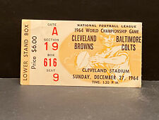 RARE 1964 NFL Championship Game TICKET STUB Cleveland Browns vs Baltimore Colts