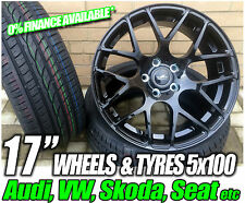 "17"" SEAT IBIZA ALLOY WHEELS + TYRES BLACK 5x100 5 STUD (2002 ONWARDS)"