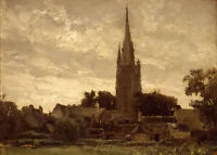 Oil painting The Church Tower. Neighborhood of Douarnenez landscape no framed @@