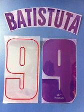 fiorentina kit BATISTUTA viola rosso flock Nameset maglia calcio reebok