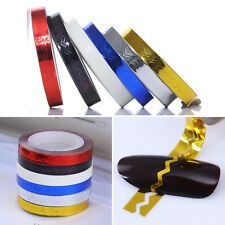 Nail Striping Tape Colorful Wave Line Styling Tool Stickers Decals DIY 6 Colors