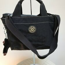 Vintage Kipling Black Nylon Sugar Satchel bag purse tote w/Davina monkey attache