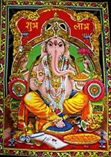 Grande Indio Ganesh Ménsula tela Lentejuelas Étnico India Hippy Decoración