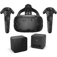 HTC VIVE VR Virtual Reality Headset, 2 Controllers, Link Box & Sensors Black