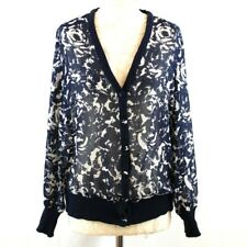 COTSWOLD COLLECTION Cardigan Rose Print Sheer Classic Jacket 14 Navy Blue Party