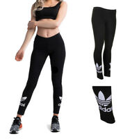 Adidas Ladies Black Trefoil Logo Graphic Active Leggings