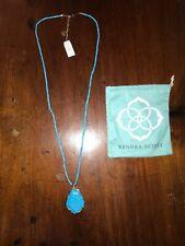 Kendra Scott Beatrix Long Beaded Pendant Necklace Blue Stone Gold 402