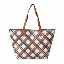 Beige with Flower Multi Color Strap Pattern Faux Leather Tote Bag Handbag