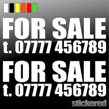 2 x FOR SALE + PHONE NUMBER CAR / VAN / CARAVAN / WINDOW VINYL STICKER / DECAL