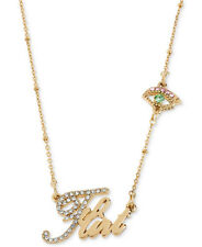 BETSEY JOHNSON Word 'Flirt' Pave Evil Eye Charm Gold-Tone Necklace NWT