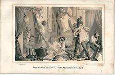1864 PALERMO Moti 1820-21 Saccheggio ufficio registro Carboneria litografia