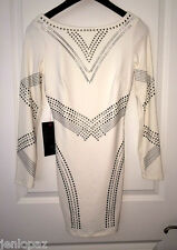 NWT bebe silver stud white long sleeve bodycon clubbing party top dress XXS X XS
