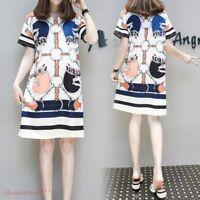 Vogue Women Short Sleeves Dress Summer Female Vestidos Shirt Dress Print Floral