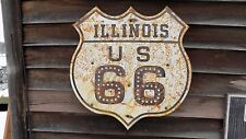 "1930s STYLE ROUTE 66/ILLINOIS SHIELD SIGN W/1/2"" CATSEYES 24""X24""STEEL GARAGEART"