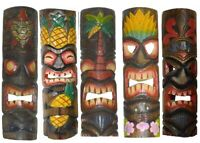 "Set of 5 LG Polynesian Hawaiian Tiki Style Wall Masks Island Tropical Tribal 20"""