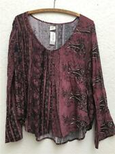 O'neill Plum Boho Blouse Peasant Top Paisley Floral Button Front New