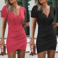 Women Sexy Slim V Neck Dress Lady Bodycon Short Sleeve Pleated Ball Gown Dresses