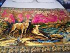 """Vintage Italian Velvet Wall Hanging Tapestry Deer Outdoors Winter Sunset 74""""×48"""""""