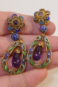 Chinese Export Gilt Silver & Enameled Drop / Dangle Earrings W/ Natural Amethyst