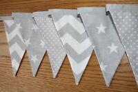 Handmade Grey and White Nursery Bunting Star Chevron Fabric Banner New Baby