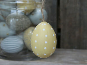 Chic Antique Osterei Ei melone gelb weiss Punkte Osterdeko Ostern Shabby Vintage