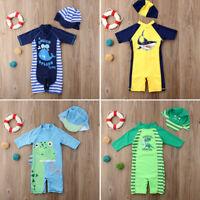 2pcs Kid Protective Swimwear Rash Guard Swimsuit Girl Boy Swimming+Hat Costume