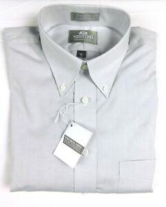NWT Stafford Long Sleeve Light Gray Mens Button Down Shirt 16 1/2 -33 No Wrinkle