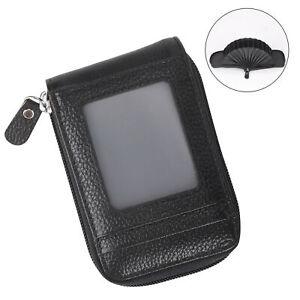 Portafoglio da uomo Porta carte di credito Tasca per cerniera con blocco RFID