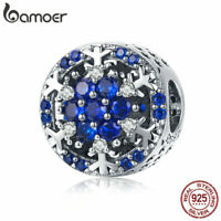 BAMOER Authentic 925 Sterling silver Charm Bead Brilliant Flower&CZ For Bracelet