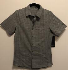 NWT Men's Lululemon Large Grid Light Shirt Short Sleeve Button Down GRSG/OCMS