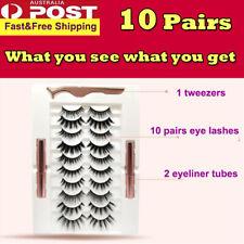 10pair Magnetic False Eyelashes Reusable Lashes Extension Liquid Eyeliner set