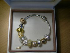 Original Pandora komplett Armband mit 11 Beads in gold/silber 17cm-23cm NEU OVP
