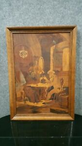 ANTIQUE Buchschmid Gretaux Marquetry Wood Inlay Picture Art RARE BG FAST FRIENDS