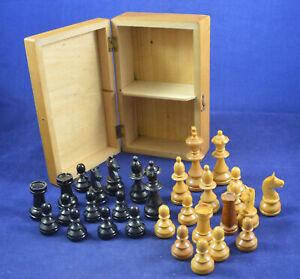 Vintage German wooden chess piece set + Box