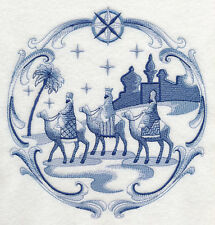 """DELFT BLUE CHRISTMAS NATIVITY THREE KINGS 8"""" MACHINE EMBROIDERED QUILT BLOCK (HP"""