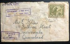1942 Port Moresby Papua Censored Army Department Cover To Toowoomba Australia