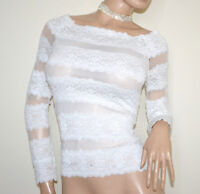 Maillot femme BLANC pull over chandail voilé dentelle brodée manches longues G60