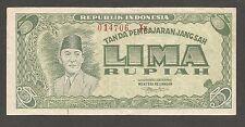 Indonesia 5 Rupiah 1947, VF+; P-21; L-B106c; Sukarno