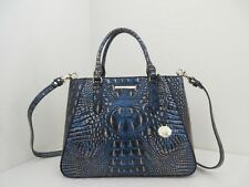 NWT AUTHENTIC BRAHMIN SMALL IRENE MELBOURNE EMBOSSED LEATHER SATCHEL-$295-LAZULI