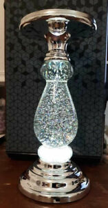 Bath And Body Works Silver Swirling Glitter 3 Wick Candle Pedestal Lights Up New